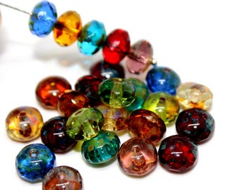 Mixed Color Picasso Faceted Rondelle Beads