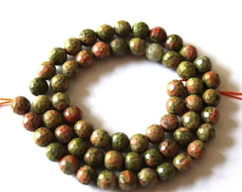 6 mm Faceted Green and Pink Unakite Gemstone Beads