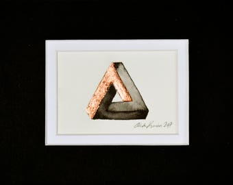 Original Painting of Penrose Triangle / Ink Painting with Copper Leaf / ACEO