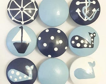Huge Summer Sale CLEARANCE - Adorable Nautical White Knob with Baby Blue Whale Hand Painted Drawer Knobs great s for boys  child room or nur