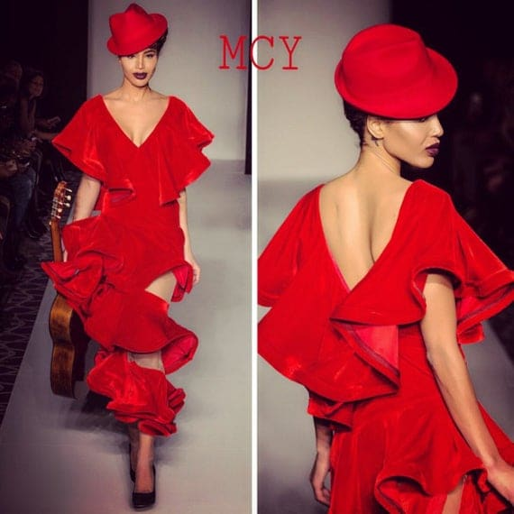 Red Velvet ruffled dress.