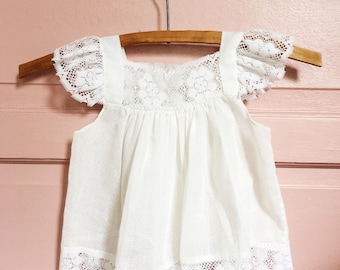 Vintage white swiss dot lace boho baby/ toddler  tunic /top -vintage gauzy summer dress/ swing top  size 18m-2T