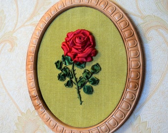 Red Rose Flower Ribbon Embroidery / Ruban Fleur / Carved Wood Frame / Home Wall Decor / Gift 3D