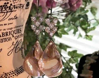 Bohemian shell vintage rhinestone assemblage earrings by Alpha Female Studio ooak