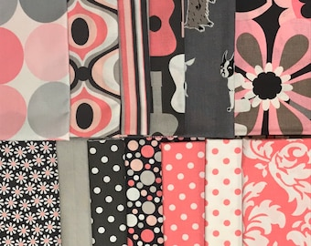 13 Piece Fat Quarter Yard Bundle of Michael Miller Pink and Grey
