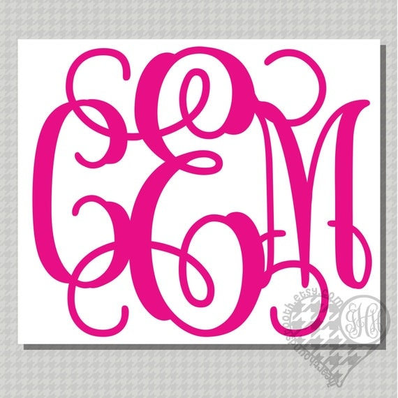 Monogram Car Decal Monogram Wall Decal Custom Vinyl Decal - Monogrammed custom vinyl decals for car