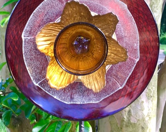 Glass Garden Flower-Fire and Ice-glass garden flower-Recycled Garden Decor