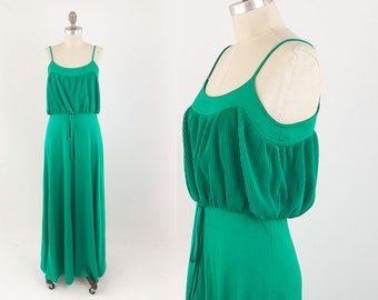 Vintage 70s Disco Maxi Dress - Emerald Green Floor Length Prom Party Dress w/ Accordian Pleat Blouson & Spaghetti Straps - Size Small Medium