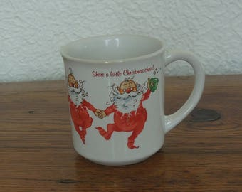 Vintage Wallace Berrie Christmas Coffee Mug Santa Claus 1983 Share A Little Christmas Cheer