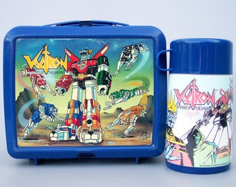 Vintage 1984 Voltron Plastic Lunchbox Complete with Thermos C8