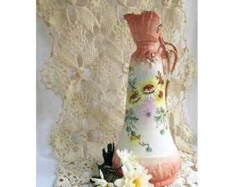Antique Vase / Art Nouveau / Porcelain Ewer / Imperial H S Austria / Double Headed Eagle Mark ? 1890-1930s