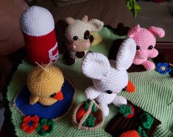 Crocheted Farm Playmat and Farm Animals
