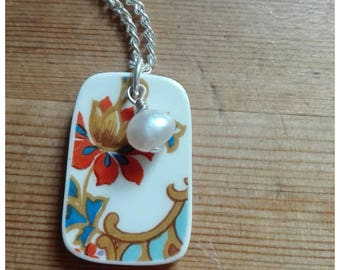 Vintage ceramic plate pendant . Fresh water pearl necklace. Knopf designs . Broken plate jewellery.
