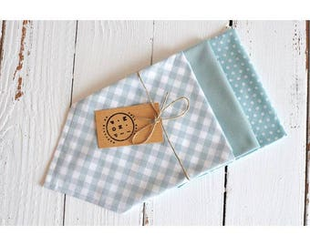 Lot of 3 handkerchiefs in cotton bio blue cloud range: a vichy, a pea, a United, zero waste, ecological and economic.