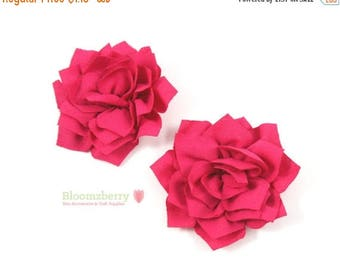 """Xmas SALE 15% OFF 3"""" Kanzashi Flowers - Fuchsia Color - Dark Pink Kanzashi Flowers -Fuchsia Flowers - Dark Pink Flowers-Hair Accessories Sup"""