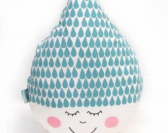 Raindrop pillow , Happy face  - blue