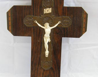 Vintage-Rosewood/Brass Mounted Wall Hanging Cross With Holy Water Stoop-circa 1920's