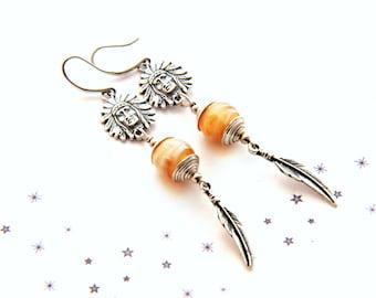 Feather Indian Lampwork Glass bead earrings