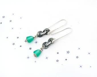 Mint green glass bead dangling earrings