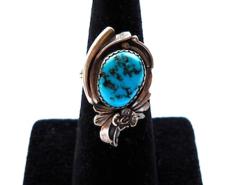 Native American Sterling Silver & Blue Turquoise Vintage Ring , Marked O B , Phoenix bird and more, circa 1970, 6 1/2