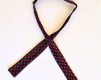 Vintage Black and Red Bow Tie, Self Tie Bow Tie, Adjustable Bow Tie, Retro Look, Mens Accessory