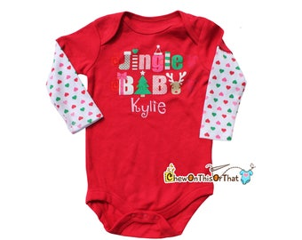 Red and White Jingle Baby Christmas Onesie Monogrammed with Baby's Name, Long Sleeve Statement Shirt, Bodysuit, Top for Baby First Christmas
