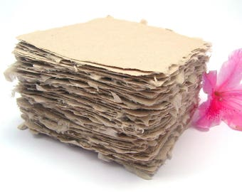 Square handmade papers, natural abaca, deckle edge, beige color, 4x4, set of 10