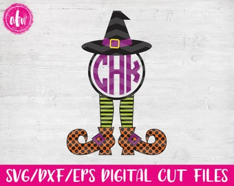 Monogram Witch Legs, SVG, DXF, EPS, Halloween, Polak Dot, Fall, Autumn, Chevron, Pattern, Vector, Holiday, Silhouette, Cricut