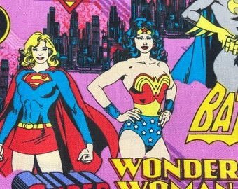 Fabric by the Yard - DC Wonder Woman, Super Girl and Bat Girl on Pink