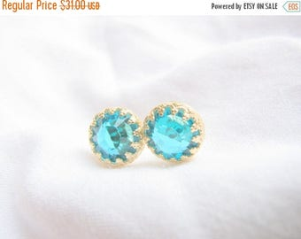SALE - Turquoise studs - Turquoise post earrings - Turquoise gold studs - Vintage turquoise earrings - Gold studs - gold post earrings