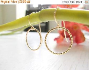SALE - Hoop earrings - Dangle hoop earrings - Gold earring - Circle earrings - Circle dangles - Karma earring, Bridesmade gift