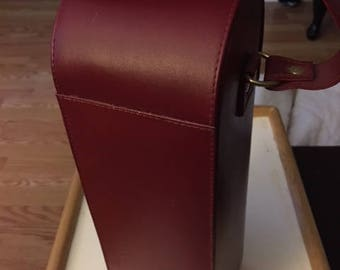 Vintage leather and suede bottle carrier...FREE shipping !!
