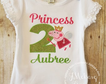 Princess Peppa Pig Birthday Custom Tee Shirt - Customizable -  Infant to Youth 151b green
