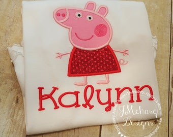 Peppa Pig Birthday Embroidered Shirt - Customizable -  Infant to Youth 315b