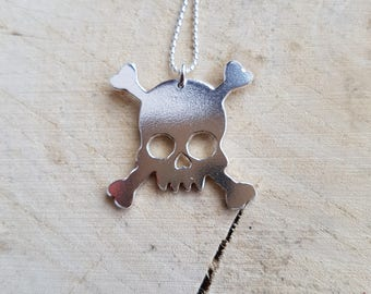 Silver Skull Necklace Pendant Mens Jewellery Boyfriend gift Graduation Gift Sugar Skull Skull Jewelry