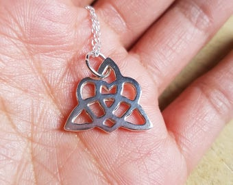 Trinity Heart Knot Necklace Pendant Celtic Knot Jewelry Heart knot Silver Celtic knot Graduation gift Anniversary gift Girlfriend gift