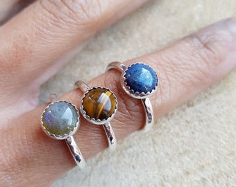 Birthstone Ring, Gemstone Ring,Garnet Ring, Labradorite Ring, Lapis Lazuli Ring, Moonstone Ring, Tigers Eye Ring, Malachite ring