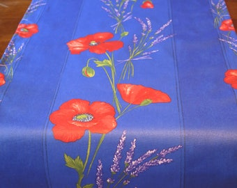 Table Runner oilcloth, cotton coated. Fabric from Provence, France. Big poppies in blue