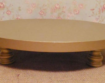16 inch cake stand / Footed cake stand / Gold cake stand / Gold wood cake stand / Wedding cake stand