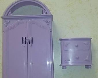 Vintage Barbie furniture closet and dresser