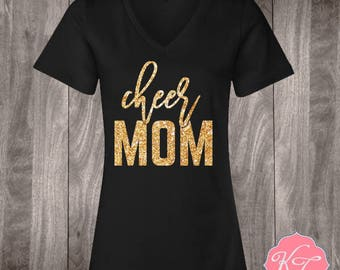 Cheer Mom Pom Pom Custom glitter Shirt