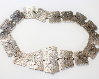 Antique Edwardian EPNS Silver Plated Etched Floral Pattern Articulated Full Vintage Nurses Belt (c1910s) - FREE SHIPPING