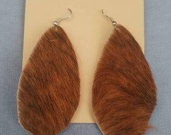 Brown Hair On Hide Dangle Earrings