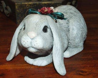 Vintage Hand Painted Ceramic Large Gray Floppy Eared Bunny Rabbit with Flower Bow Statue Figurine