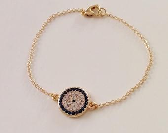 Evil Eye Rhinestone Charm Bracelet, Nazar Bracelet, Gold necklace, Gold Jewelry, Amulet Jewelry, Kids Bracelet, Valentines Gift for Her Him