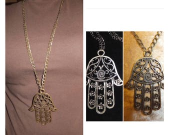 Best Seller, Hamsa Brass Silver Necklace, Antique Brass Hamsa Necklace, Hand of Fatima, Boho jewelry, Big Pendant, Hand of Fatma pendant,