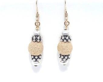 Silver and Gold Earrings, Beaded Jewelry, Two Tone Earrings, Small Dangle Earrings, Small Dangle Earrings, Stardust Beads, Drop Earrings