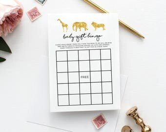 INSTANT DOWNLOAD - Safari Baby Shower Baby Gift Bingo, Gold, Black, Giraffe, Elephant, Lion, Jungle Theme, Baby Shower Games