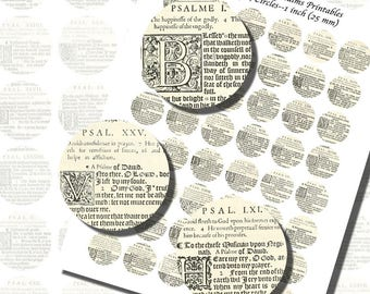 Psalms, Bible from 1600s Elizabethan England, ONE INCH CIRCLES (25 mm), with 1/2 inch  (13mm)  and 3/4 inch (20mm) circles also included