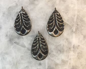 Drop Shaped, Pendant Charms, Molten Stamped, Pewter, Necklace Metal, Brass,